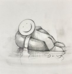 The Good Old Days (study) by Doug Hyde - Original Drawing on Mounted Paper sized 6x6 inches. Available from Whitewall Galleries